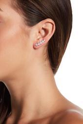Sterling Silver Swarovski Crystal Accented Arrow Ear Climber Earrings