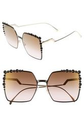 60mm Gradient Square Cat Eye Sunglasses