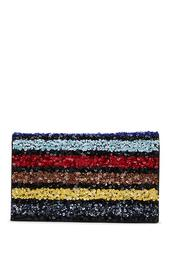 Embellished Colorblock Stripe Clutch