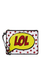Embellished LOL Graphic Leather Wristlet