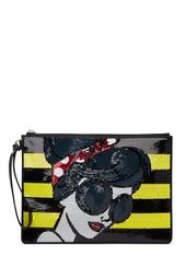 Stace Face Embellished Large Leather Wristlet