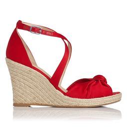 Angeline Red Satin Wedge Sandal