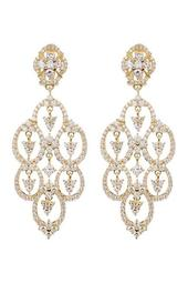 Gold Plated Sterling Silver CZ Clip Earrings