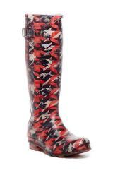 Dynamic Houndstooth Waterproof Rubber Rain Boot