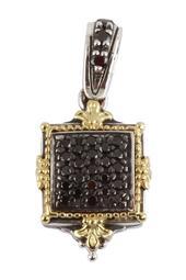 Sterling Silver & 18K Yellow Square Black Diamond Pendant - 0.33 ctw