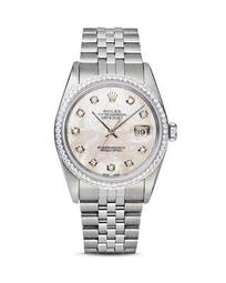 Stainless Steel and 18K White Gold Datejust Watch with Mother-of-Pearl Dial and Diamond Bezel, 36mm