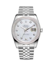 18K White Gold and Stainless Steel Datejust Diamond Watch with Mother-Of-Pearl Dial and Jubilee Band, 36mm
