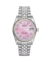 Stainless Steel and 18K White Gold Datejust Watch with Pink Mother-of-Pearl and Diamond Dial, 31mm