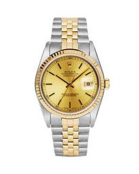 Stainless Steel and 18K Yellow Gold Two Tone Datejust Watch with Champagne Fluted Bezel Dial, 36mm
