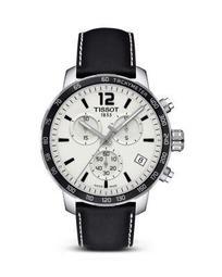 Quickster Men's Quartz Chronograph Black and Silver Dial Watch, 42mm