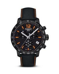 Quickster Men's Quartz Chronograph Black and Orange Dial Watch, 42mm