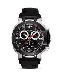 Tissot T-Race Men's Black Quartz Chronograph Rubber Strap Watch, 50mm