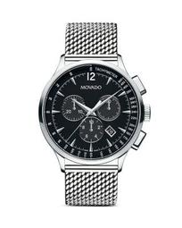 Men's Circa Chronograph with Stainless Steel Mesh Bracelet and Black Dial, 42 mm