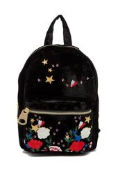 Embroidered Velvet Mini Backpack