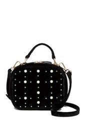 Faux Pearl & Studs Velvet Box Bag