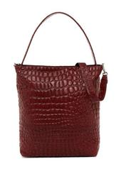 Croco Embossed Leather Collection Tribeca Hobo Bag