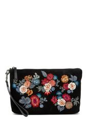 Super Bloom Floral Embroidered Suede Clutch