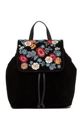 Super Bloom Floral Embroidered Suede Backpack