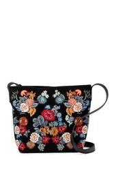 Super Bloom Floral Embroidered Suede Crossbody Bag
