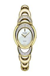 Women's Gold Tone Swarovski Crystal Solar Watch