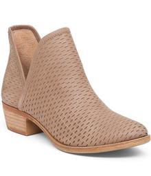 Lucky Brand Bashina Nubuck Leather Block Heel Booties