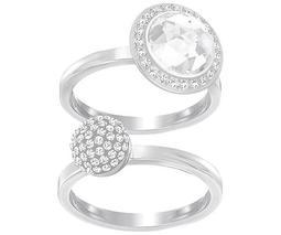 Hote Ring Set, White, Rhodium plating