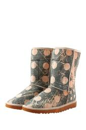Waterproof Dot Print Faux Fur Lined Boot