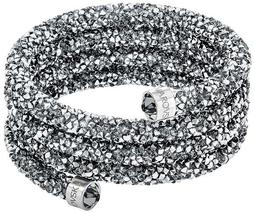 Crystaldust Wide Bangle, Gray, Stainless steel