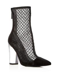 Women's Haven Embroidered Mesh & Suede High Block Heel Booties - 100% Exclusive