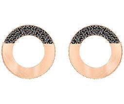 Hoop Fever Round Pierced Earrings, Black, Rose gold plating