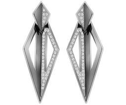 Ground Pierced Earring Jackets, White, Ruthenium plating