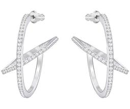 Hoop Fever Pierced Earrings, White, Rhodium plating