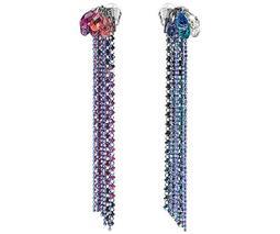Haute Couture Clip Earrings, Multi-colored, Ruthenium plating