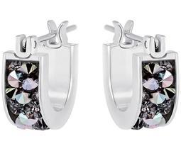 Crystaldust Hoop Pierced Earrings, Small, Gray, Stainless steel