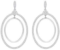 Gilberte Hoop Pierced Earrings, White, Rhodium Plating