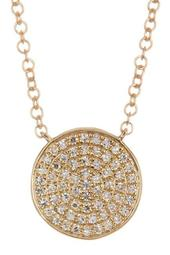 14K Yellow Gold Pave Diamond Disc Pendant Necklace - 0.15 ctw