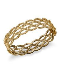 18K Yellow Gold Double Row Twisted Bangle