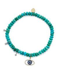 14K White and Yellow Gold Turquoise Beaded Bracelet with Sapphire and Diamond Evil Eye Charm