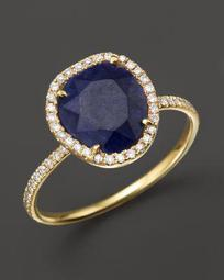 14K Yellow Gold Blue Sapphire Ring with Diamonds, .20 ct. t.w.