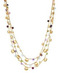 "18K Yellow Gold Paradise Teardrop Three Strand Gemstone Necklace, 16"""