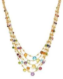 18K Yellow Gold Paradise Five Strand Mixed Stone Necklace, 16.5""
