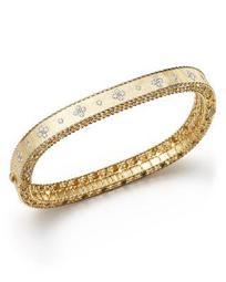 18K Yellow Gold and Diamond Princess Bangle