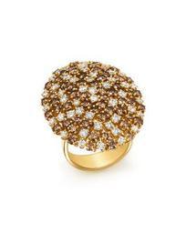 18K Yellow Gold Brown & White Diamond Cluster Ring