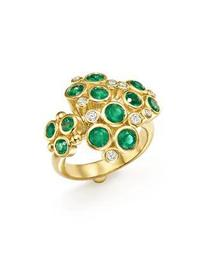 18K Yellow Gold Emerald and Diamond Cluster Trio Ring