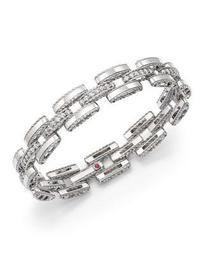 18K White Gold Retro Diamond Link Bracelet