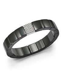 18K White Gold & Black Ceramic Domino Square Stretch Bracelet with Diamonds