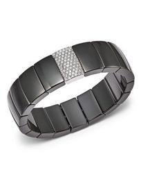 18K White Gold & Black Ceramic Domino Rectangular Stretch Bracelet with Diamonds