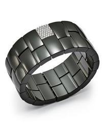 18K White Gold & Black Ceramic Domino Two-Row Stretch Bracelet with Diamonds
