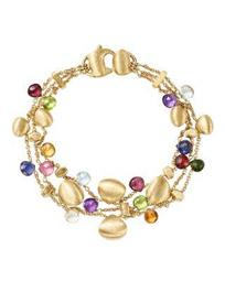 18K Yellow Gold Paradise Teardrop Three Strand Gemstone Bracelet