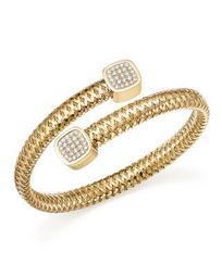 18K Yellow Gold Primavera Diamond Capped Bangle